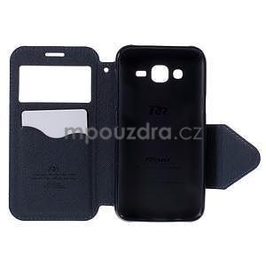 PU kožené pouzdro s okýnkem pro Samsung Galaxy J5 - fialové - 4