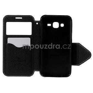 PU kožené pouzdro s okýnkem pro Samsung Galaxy J5 - bílé - 4