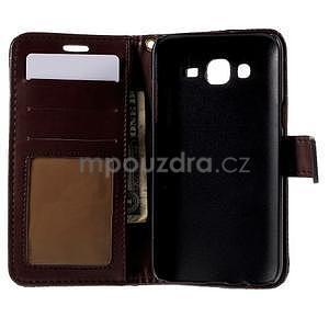 PU kožené pouzdro s imitací krokodýlí kůže Samsung Galaxy J5 - tmavě hnědé - 4