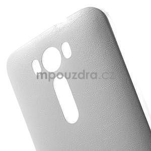 Gelový obal s jemným koženkovým plátem na Asus Zenfone 2 Laser ZE500KL  - bílý - 4