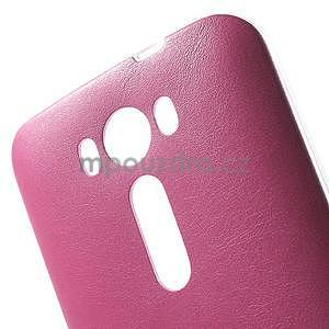 Gelový obal s jemným koženkovým plátem na Asus Zenfone 2 Laser ZE500KL  - růžový - 4