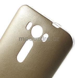 Gelový obal s jemným koženkovým plátem na Asus Zenfone 2 Laser ZE500KL  - champagne - 4