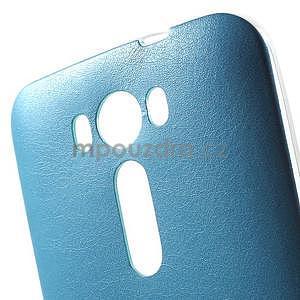 Gelový obal s jemným koženkovým plátem na Asus Zenfone 2 Laser ZE500KL  - modrý - 4