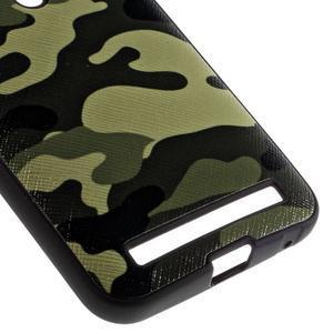 Gelový obal s koženkovými zády na Asus Zenfone 2 Laser - army - 4