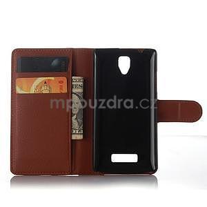 Peněženkové pouzdro na mobil Lenovo A2010 - hnědé - 4
