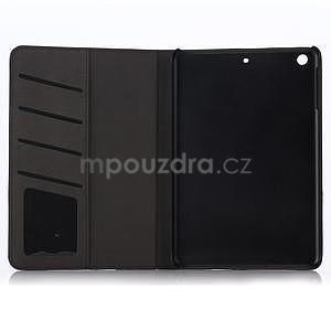 Koženkové pouzdro s imitací dřeva na iPad Mini 3, iPad Mini 2, iPad mini - tmavě šedé - 4