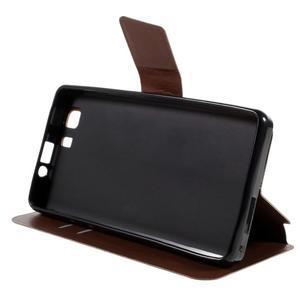 Peněženkové PU kožené pouzdro na mobil Doogee X5 - hnědé - 4
