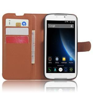 Peněženkové pouzdro na mobil Doogee X6 - hnědé - 4
