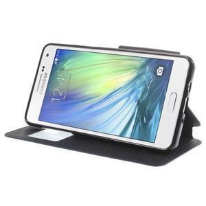Stylové pouzdro s okýnkem na Samsung Galaxy A5 - tmavěmodré - 4