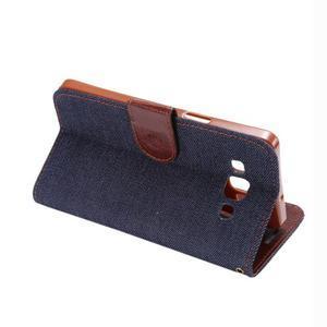 Jeans peněženkové pouzdro na Samsung Galaxy note 3 - černomodré - 4