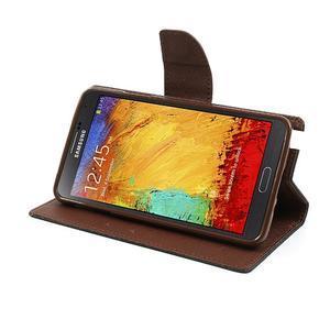 Goosp PU kožené pouzdro na Samsung Galaxy Note 3 - černé/hnědé - 4