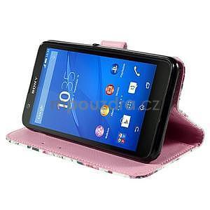 Koženkové pouzdro na mobil Sony Xperia E4 - růže - 4