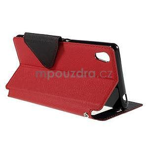 Peněženkové pouzdro s okýnkem pro Sony Xperia M4 Aqua - červené - 4