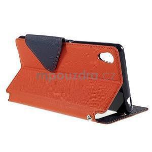 Peněženkové pouzdro s okýnkem pro Sony Xperia M4 Aqua - oranžové - 4