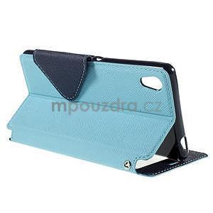 Peněženkové pouzdro s okýnkem pro Sony Xperia M4 Aqua - světlemodré - 4