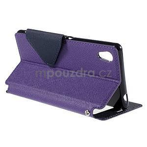 Peněženkové pouzdro s okýnkem pro Sony Xperia M4 Aqua - fialové - 4