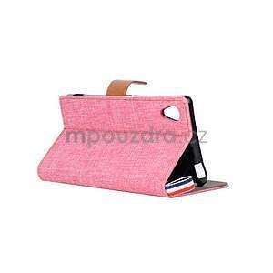 Jeans peněženkové pouzdro na mobil Sony Xperia M4 Aqua - růžové - 4