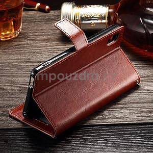 Koženkové pouzdro Sony Xperia M4 Aqua - hnědé - 4