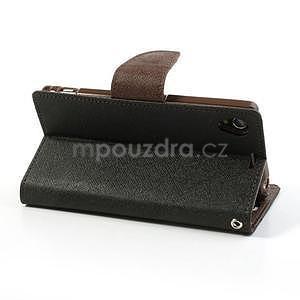 Fancy peněženkové pouzdro na mobil Sony Xperia Z1 - černé/hnědé - 4