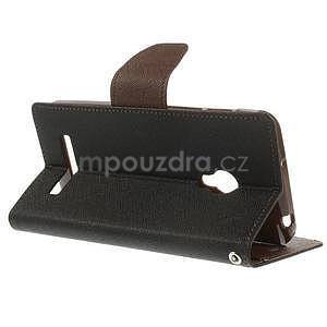 Černé/hnědé peněženkové pouzdro na Asus Zenfone 5 - 4