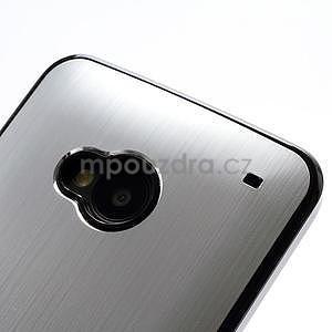 Broušený hliníkový plastový kryt na HTC One M7 - stříbrný - 4