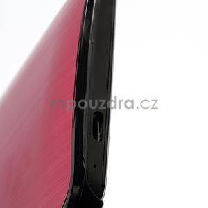 Broušený hliníkový plastový kryt na HTC One M7 - červený - 4