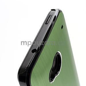 Broušený hliníkový plastový kryt na HTC One M7 - zelený - 4