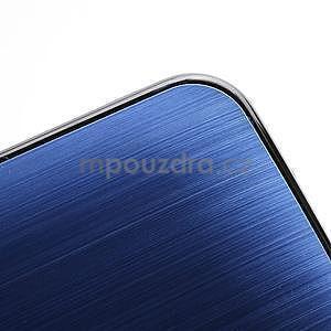 Broušený hliníkový plastový kryt na HTC One M7 - modrý - 4
