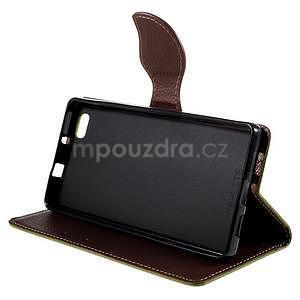 Zapínací PU kožené pouzdro na Huawei P8 Lite - zelené - 4
