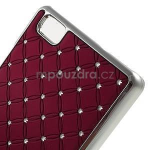 Drahokamový plastový obal na Huawei Ascend P8 Lite - červený - 4