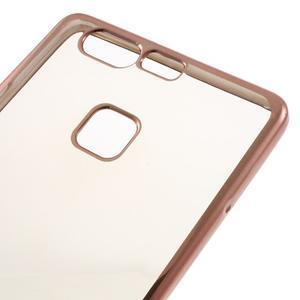 Stylový gelový obal s růžovozlatým lemem na Huawei P9 - 4