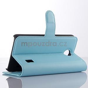 Modré zapínací PU kožené pouzdro na Huawei Y635 - 4
