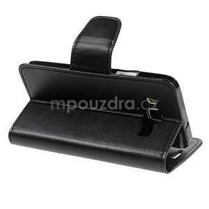 Černé PU kožené peněženkové pouzdro na Samsung Galaxy A3 - 4