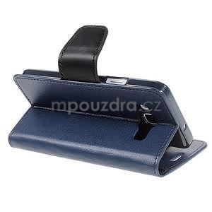 Tmavě modré PU kožené peněženkové pouzdro na Samsung Galaxy A3 - 4