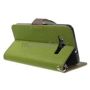 Zelené/hnědé PU kožené pouzdro na Samsung Galaxy A3 - 4