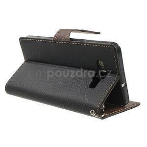 Černé/hnědé PU kožené pouzdro na Samsung Galaxy A5 - 4