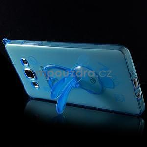 Modrý gelový obal s nastavitelným stojánkem na Samsung Galaxy A5 - 4