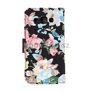 Květinové peněženkové pouzdro na Samsung Galaxy A5 - černé - 4