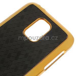 Černé elegantní plastové pouzdro se zlatým lemem na Samsung Galaxy S5 mini - 4