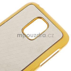 Bílé elegantní plastové pouzdro se zlatým lemem na Samsung Galaxy S5 mini - 4