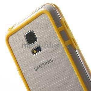 Žlutý gelový kryt s plastovými lemy na Samsung Galaxy S5 mini - 4