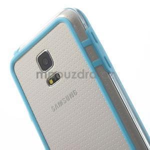 Světle modrý gelový kryt s plastovými lemy na Samsung Galaxy S5 mini - 4