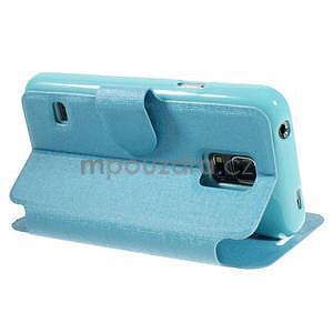 Světle modré  zapínací pouzdro na Samsung Galaxy S5 mini - 4