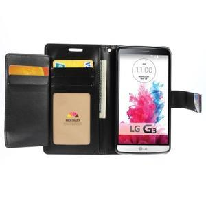 Luxusní PU kožené pouzdro na mobil LG G3 - černé - 4