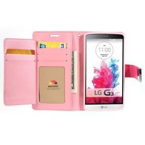 Luxusní PU kožené pouzdro na mobil LG G3 - rose - 4
