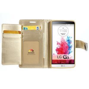 Luxusní PU kožené pouzdro na mobil LG G3 - zlaté - 4