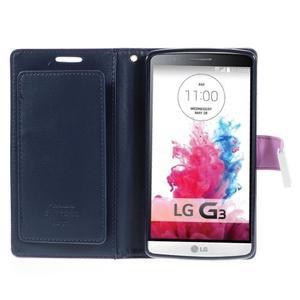Luxusní PU kožené pouzdro na mobil LG G3 - fialové - 4