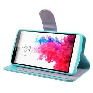 Světlemodré PU kožené pouzdro na LG G3 - 4