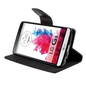 Canvas PU kožené/textilní pouzdro na LG G3 - černé - 4