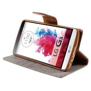 Canvas PU kožené/textilní pouzdro na LG G3 - šedé - 4